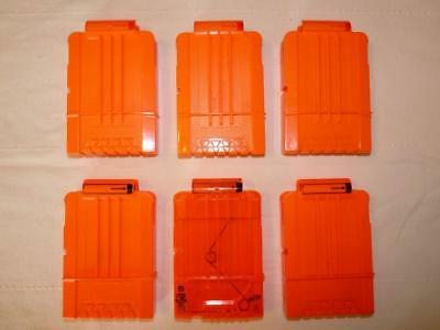 LOT OF 6 NERF N-Strike Elite 6-Round Magazines Clips Mags for NERF Dart Blasters