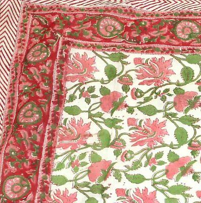 """Floral Block Print Cotton Scarf - 42"""" x 42""""- Pink-Red-White"""