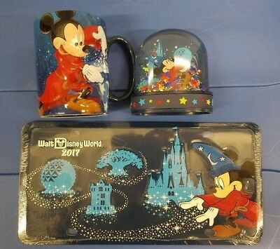 disney Park 2017 Exclusive Mug and Globe & Car Plate LOT NEW