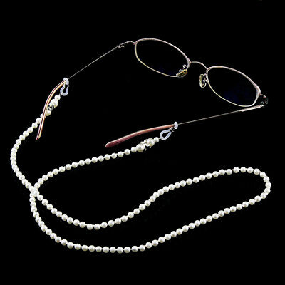 White Pearl Beaded Sunglass Reading Glasses Eyeglasses Chain Cord Holder Rope