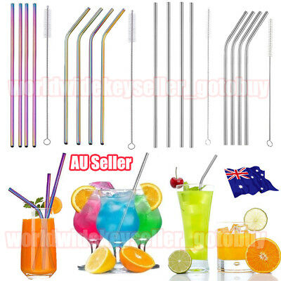4x Premium Stainless Steel Metal Drinking Straws Straight/Bent Reusable Washable
