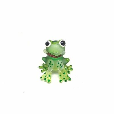 Frog Figurine Miniature Blown Glass Green Tiny Hand Animal Art Amphibians Gift