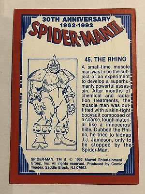 1992 Marvel Spider-Man 30th Anniversary Card #45 The Rhino