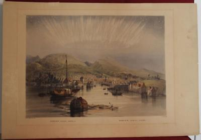 BERGEN NORWAY BOREAL CROWN 1860ca C. BENTLEY UNUSUAL ANTIQUE LITHOGRAPHIC VIEW