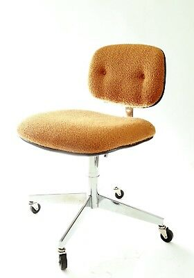 Vintage Mid Century Modern Steelcase orange tweed Office Chair