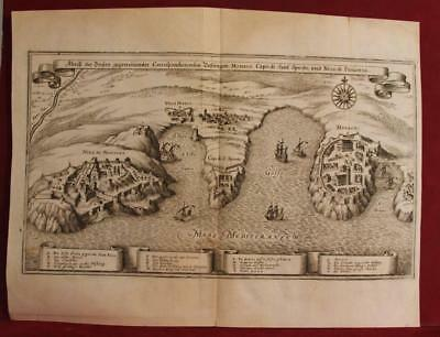 Monaco Côte Azur France 1648 Merian Unusual Antique Original Copper Engraved Map