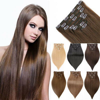 Full Head 14-20Inch Clip In 7PCS Real Human Long Hair Extensions Straight 100g