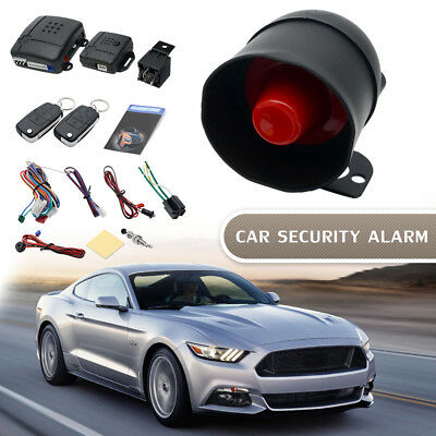 Car Security Alarm System Immobiliser Central Locking + Shock Sensor +2 Remotes