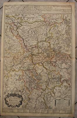 Rhine River Flow Germany 1689 Berry Wall Unusual Antique Copper Engraved Map