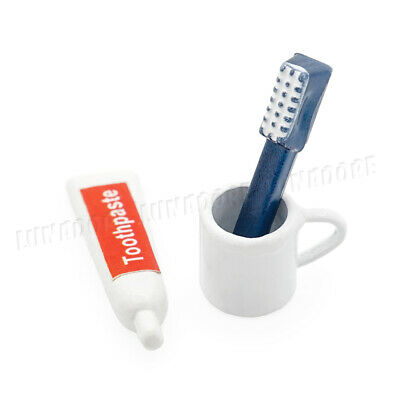 1:12 Dollhouse Miniature Toothpaste Toothbrush Cup 3pcs Bathroom Set Accessories