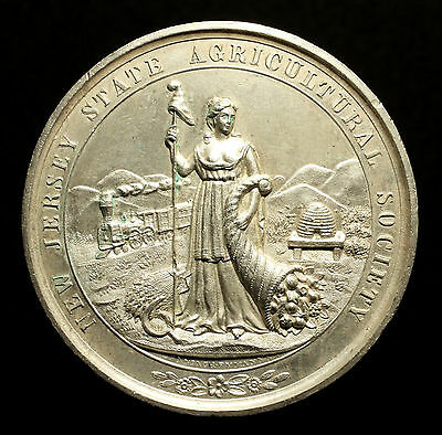 USA, Große Silbermedaille o.J. (nach 1840), New Jersey Agricultural, RR!