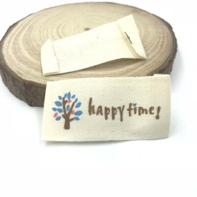 50X HANDMAD Printing tree Tag Washable Clothing Woven Labels Sewing Accessorie