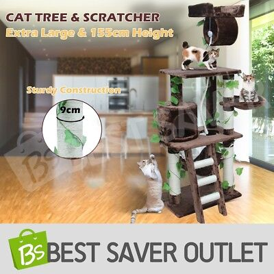 Cat Scratcher Scratching Post Tree Gym House Furniture Pole Play Toy M 155cm