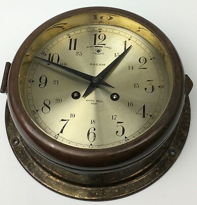 Vintage SALEM Silent Strike Ships Bell 8 Day Clock Germany - FOR REPAIR OR PARTS