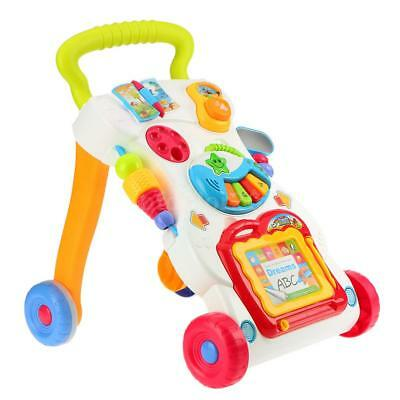 Multifuctional Toddler Trolley Sit-to-Stand ABS Musical Walker with T6S3