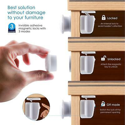 Magnetic Drawer Kitchen Cabinet Cupboard Lock Latch For Child Baby Toddler Safe