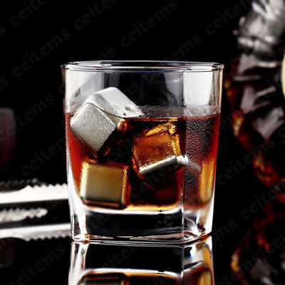 1/4/8pc Reusable Stainless Steel Ice Cubes Metal Scotch Whisky Wine Ice Stone