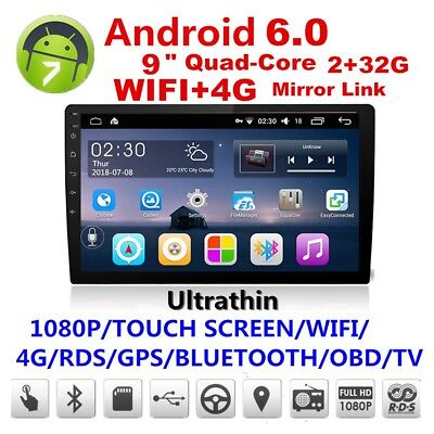"""9"""" Touch Android 6.0 2 Din Quad-Core Car Stereo Radio GPS Wifi DAB Mirror Link"""