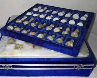 Onyx Marble Chess Board Beautifully Crafted; Blue Velvet Case