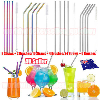 24x Stainless Steel Metal Drinking Straw Straws Bent Reusable Washable+6 Brushes