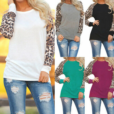 Sexy Women Leopard Blouse Long Sleeve Fashion Ladies T-Shirt Tops Size S-5XL
