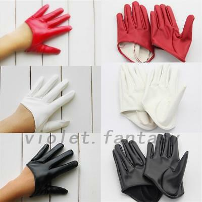 Women's Faux Leather Five Finger Half Palm Party Gloves Mittens Red/White/Black
