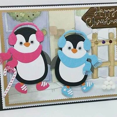 Christmas Penguins Cutting Die Craft Embossing Stencil For Handmade Card Cute 1x