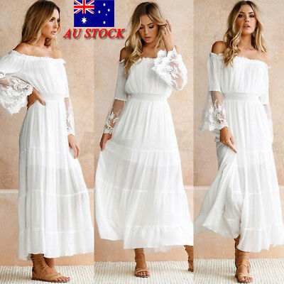 Women Off Shoulder Lace Long Sleeve Maxi Dress Casual Party Holiday Beach Dress