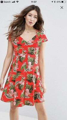 Asos Red Maternity Floral Dress Size 10