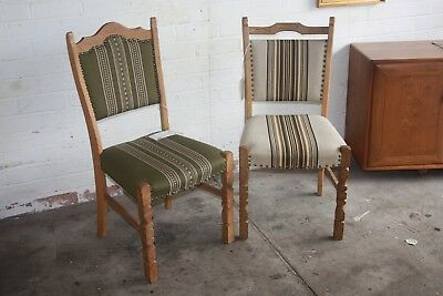 Vintage Retro Late 20th Century Pair of Danish Oak Dining Chairs