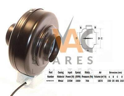 """Quality In-line Duct Co-Axial Pipe Fans 230v 2 Pole 315mm 12"""" Metal Inline"""