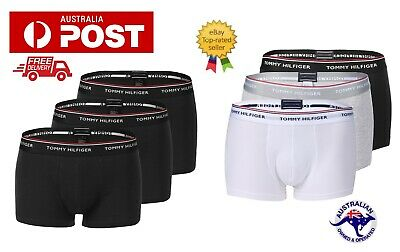 3 Pack Tommy Hilfiger Mens Cotton Stretch Boxer Brief Low Rise Trunks Underwear