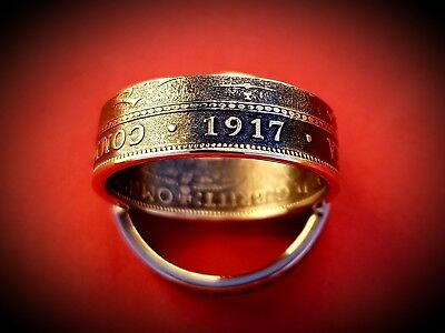 Australian Commonwealth Half Penny 1917 Coin Ring