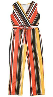 Girls Jumpsuit Stripe Knot Waist Sleeveless Long Playsuit Outfit 3 to 14 Years
