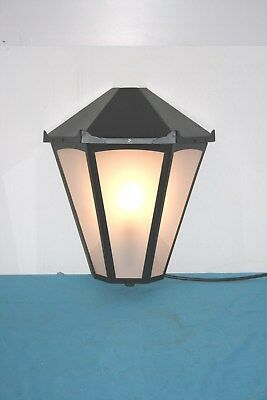 Wall Light. Half Lantern. Painted Black With Frosted Glass Panels .