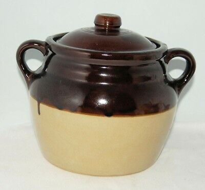 "Antique Monmouth Bean Pot w/Lid Maple Leaf On Bottom Pre-1930 USA  8"" Tall"