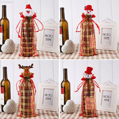 Lace Sheer Organza Wine Bottle Beer Gift Christmas Party Packing Bag