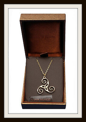 Bronze Celtic Triskele Spiral Pendant Necklace ~ St Justin ~ Free P&p Uk Made