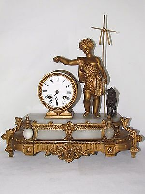 05D25 Antique Clock Alabaster Statue Regulated Golden St Jean Baptiste Lamb