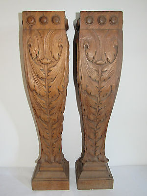 07C37 ANTIQUE PAIR OF PILLAR COLUMN PLANT STAND WOOD CARVED ARCHITECTURE XIX° th