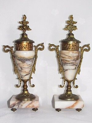 09D41 PAIR ANTIQUE SMALL PANS CLOCK MARBLE AND BRONZE GOLDEN CHERUBIM xixth