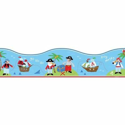 Pirate Boat Sea Themed Wallpaper Border Blue Red Green Childrens