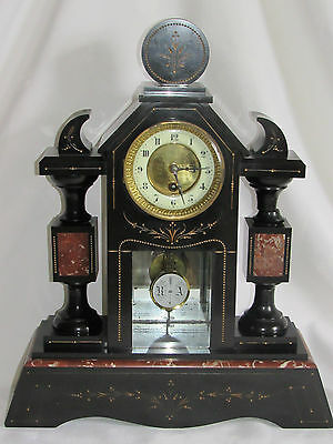 05C11 ANTIQUE CLOCK NOTARY A COLUMNS MARBLE BLACK NAPOLEON III xixth