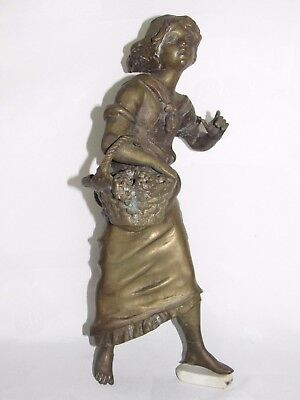 08D29 Antique Bronze Statue Woman Girl To The Basket Art Nouveau For Clock