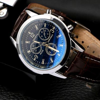 Men's Leather Military Casual Analog Quartz Wrist Watch Business Watches fa#21