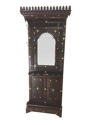 Striking Antique Syrian Hall Rack with Mirror, 19th Century, Walnut