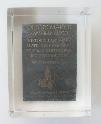 1906 San Francisco Earthquake Old St. Mary's Church Roof Tile Lucite Paperweight