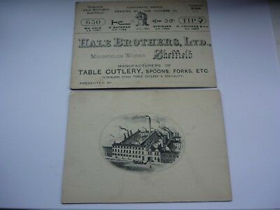 26  Rare Sheffield Victorian Hale Brothers Cutlers Large Business Card Pictorial
