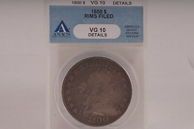 1800 $1 Flowing Hair VG10 Details Rims Filed ANACS