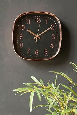 Chrome Wall Clock Copper Vintage Retro Style Battery Operated Square Embossed